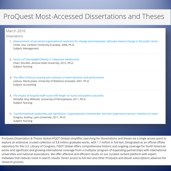 proquest dissertations search Proquest dissertations & theses global a collection of dissertations and theses from around the world, spanning from 1743 to the present day and offering full text.