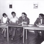 In August 1967, students from the USA visited Slovenia and met with the Slovenian student representatives in Groblje near Domžale. In the picture (from left to right) are the students Franjo Mavrič (Faculty of Sociology, Political Science and Journalism), Cveta Razdevšek (Faculty of Arts), Danijel Pučko (Faculty of Economics), and Miloš Kobal (Faculty of Medicine) and Prof. Adams from the USA.