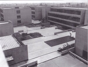 Part of the new building of the Faculty of Economics (atrium); 1976
