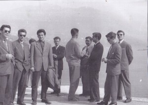 Trip of the students of the Faculty of Economics, University of Ljubljana, to Milan via Trieste in 1956. From left to right: Franc Štrumbelj, Andrej Miklavčič, Milan Gregorič, Dušan Šinigoj, Bojan Prek, the last two are Dolfe Vojsk and Ivan Lapajne.