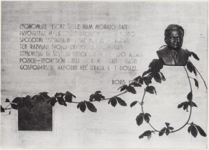 The foundation stone of the building, which was laid on 9 October 1973, and the statue of Boris Kidrič