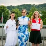 Najboljše tri (od leve proti desni: tretjeuvrščena Nika Kramberger, prvouvrščena Pia Pajnič, in drugouvrščena Katarina Rozman)